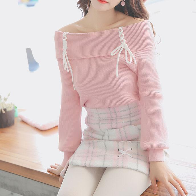 Cross Strings Pink Shoulder-less Sweater SD00279