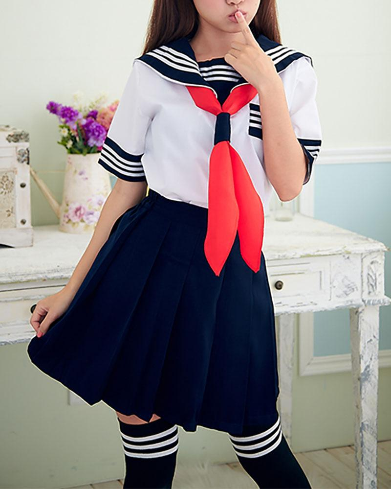 White&Blue School Sailor Uniform SD00396