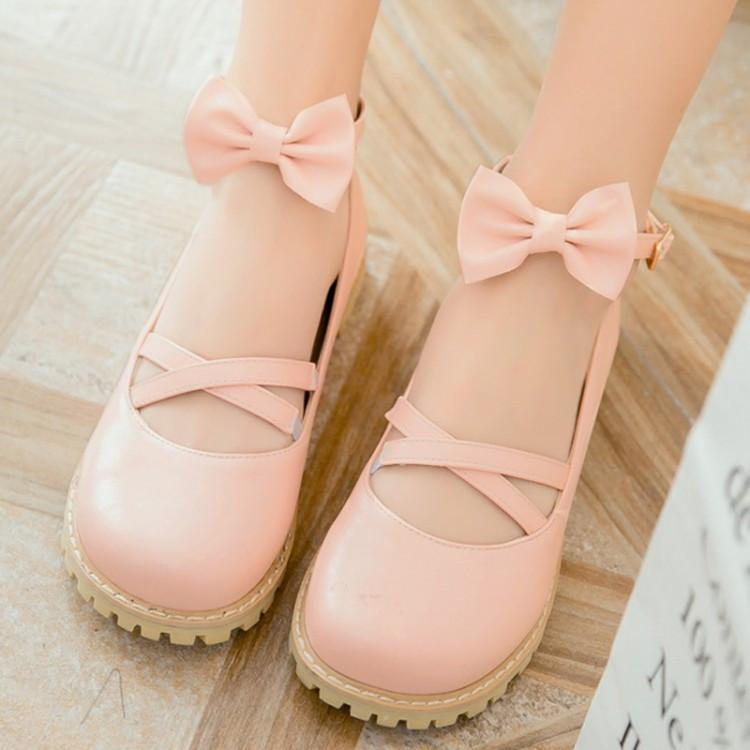 Lolita Bow Flat Leather Shoes SD00120