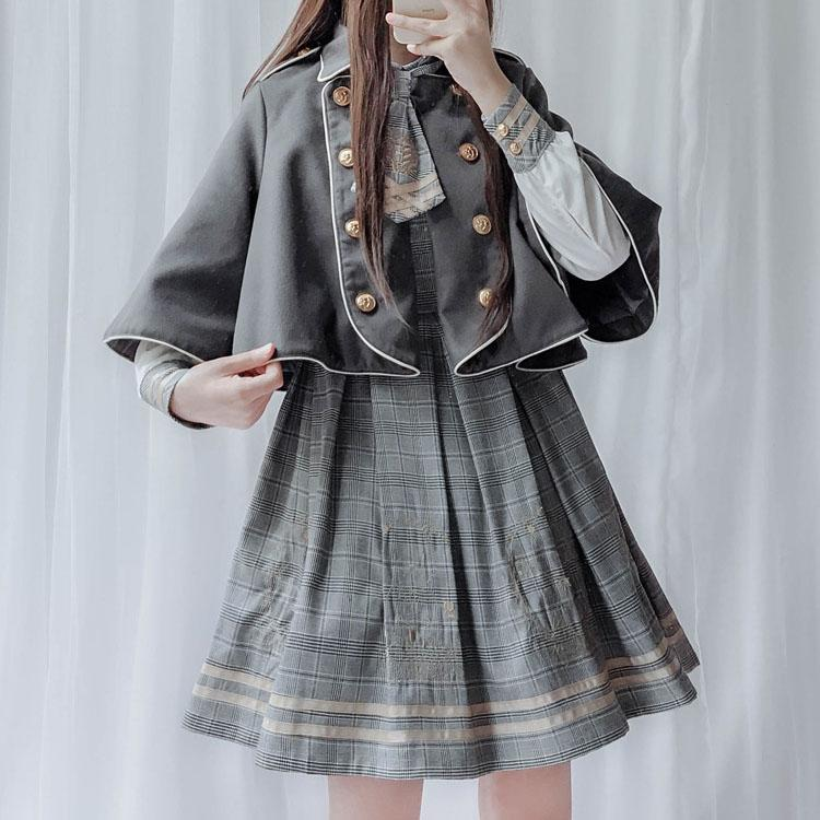 Detective Academy Embroidered Plaid Dress + Woolen Cloak SD00372