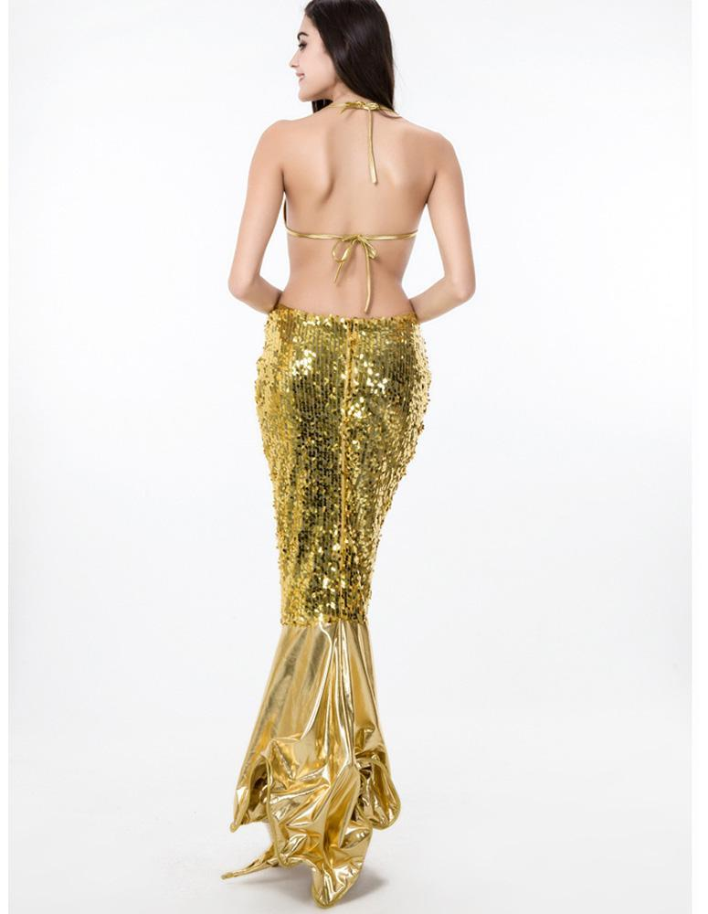 Gold Shell Bra Sequin Maxi Skirt Mermaid Halloween Stage Dance Costume