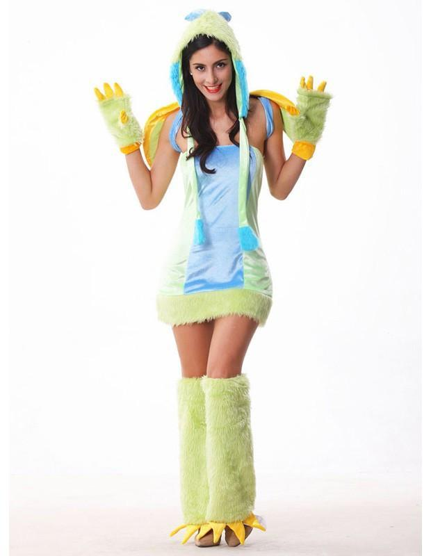 Cute Dinosaur Fur Halloween Womens Animal Costume With Wings Mascot