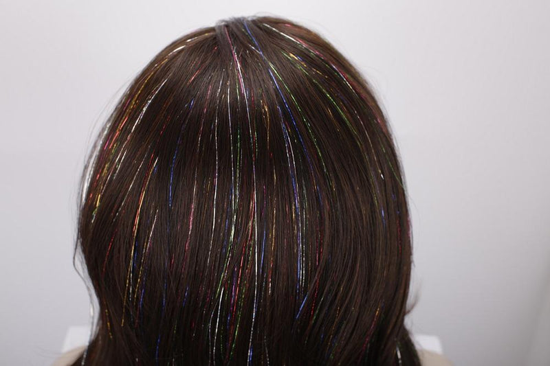 Premium Wig - Copper Blend Shiny Tinsel Lace Front Tinsel