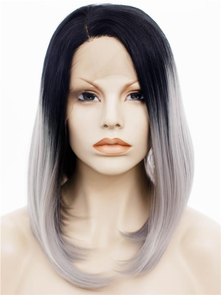 Premium Wig -  Lace Front Sleek Grey Ombre