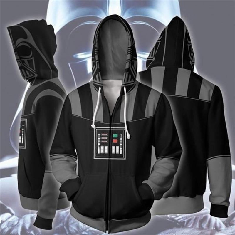2019 New Movie Star Wars: The Rise of Skywalker Zip Hoodie Men and Women Cosplay Sweater Anime Costume 3D Printing