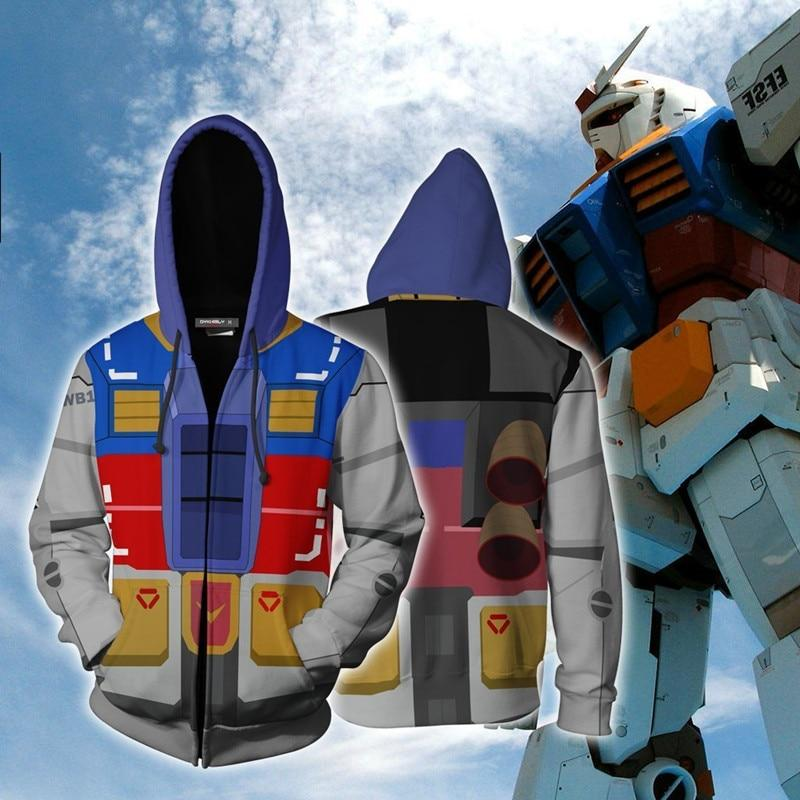 3D Printing MOBILE SUIT GUNDAM Anime Hero Cosplay Sweatshirt Hoodie Men Top Sweater Zip Hoodie Gundam Cosplay Costume