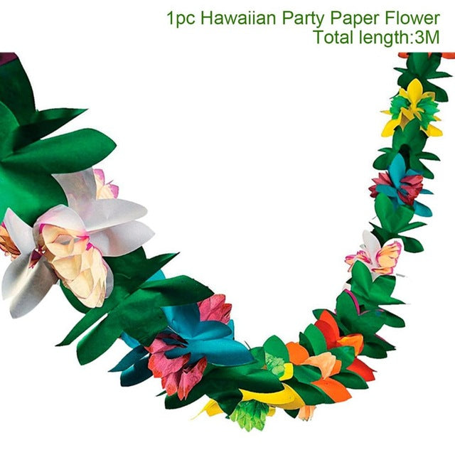 10Pcs Hawaiian Party Artificial Flowers leis Garland Necklace Hawaii Beach Flowers Luau Summer Tropical Party Decoration