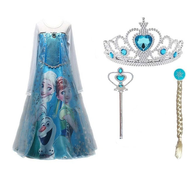 Multicolor Christmas Children Clothing Girls Dress Anna Elsa Princess Dresses For infant kids Costume Party Wedding Clothes