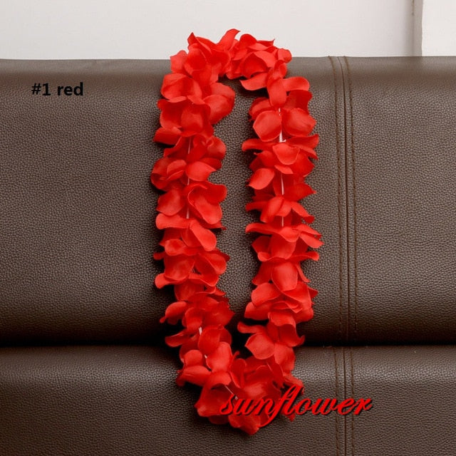 Hawaiian Artificial Flowers leis Garland Necklace Flowers DIY Fancy Dress Accessories Hawaii Beach Party Decoration