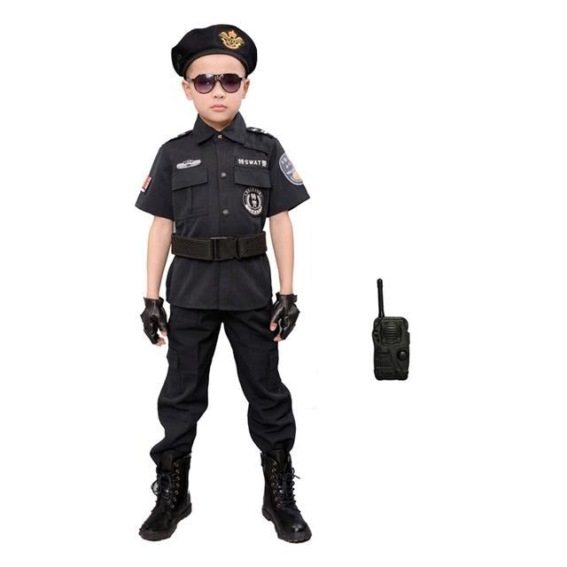 Children Halloween Policeman Costumes Kids Party Carnival Police Uniform 110-160cm Boys Army Policemen Cosplay Clothing Sets