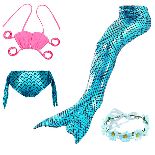 Little Mermaid Tails for Swimming Costume Mermaid Tail Cosplay Girls Swimsuit Kids Children Swimmable suit Monofin