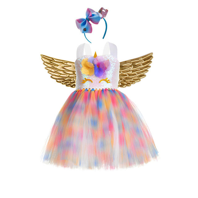 Girls Unicorn Costume Dress Fancy Up Kids Rainbow Tutu Party Dresses Princess Cosplay Dressing Up With Headband Wings Halloween