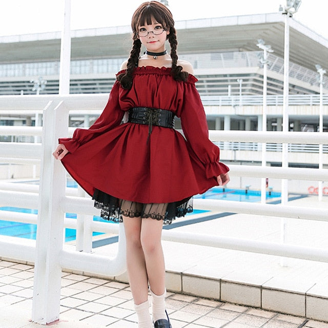 Adult Anime Maid Cosplay Costume Lolita Dress Female Sweet Wine Red Gothic A Sexy Off-the-shoulder Kawaii Party Clothes For Girl