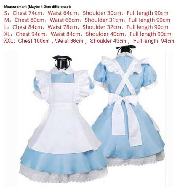 Halloween Women Adult Anime Alice Adventure Blue Party Dress Alice Dream Women Sissy Maid Lolita Cosplay Costume