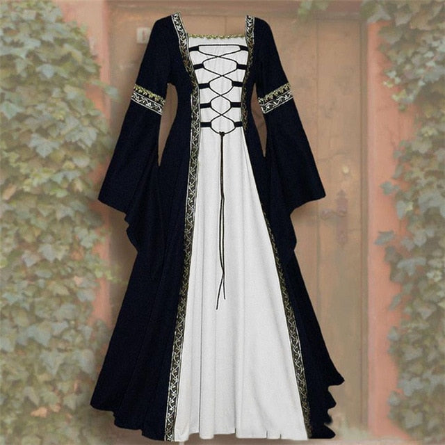 Women Cosplay Dress Vintage Elegant Dresses Medieval Floor Length Renaissance Gothic Lace Maxi Party Dresses Oversize Dress 2020