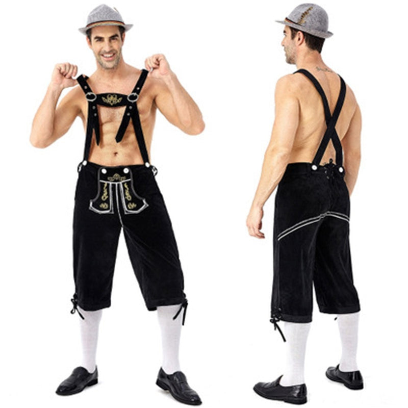 Germany Oktoberfest Beer Man Lederhosen Costume Halloween Bavarian Carnival Party Deluxe Cosplay Suspenders Shorts