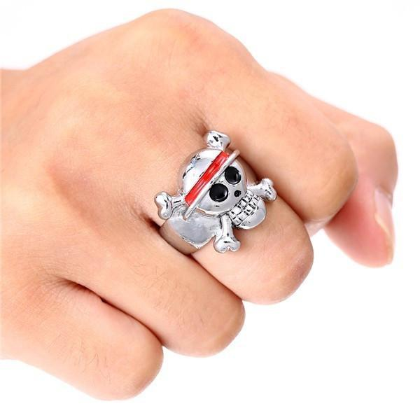 One Piece Ring - Silver Plated Skull Logo