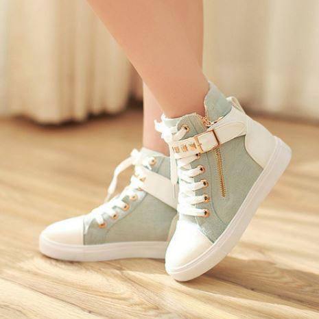 Mint Green Straps Studs Sneakers Shoes SD02311