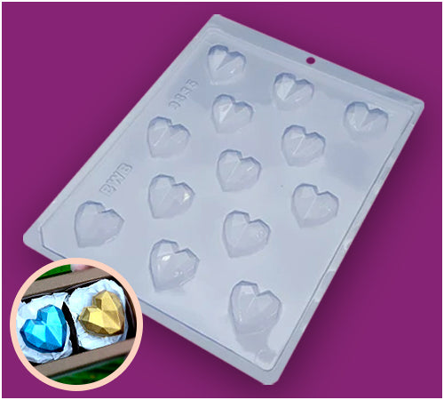 3-Part Chocolate Mould - Bonbon Geometric Heart - BWB9835