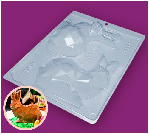 Diamond Bunny Chocolate Mould 250g - 3-Part - BWB 9877