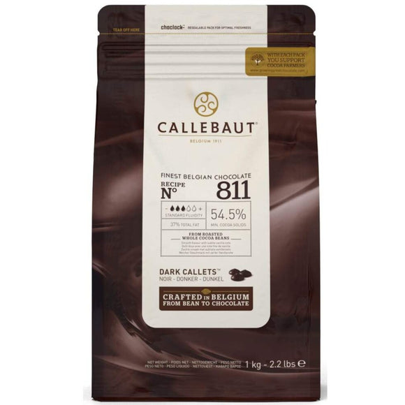 Callebaut Dark Chocolate Callets  54.5%.   PESO:1KG