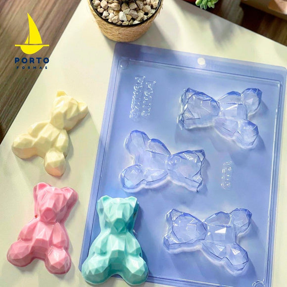 3-Part Chocolate Mould - Geometric Baby Bear - PORTO 1203