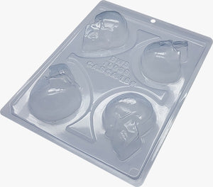 3-Part Chocolate Mould - Small Skull Halloween - BWB10036