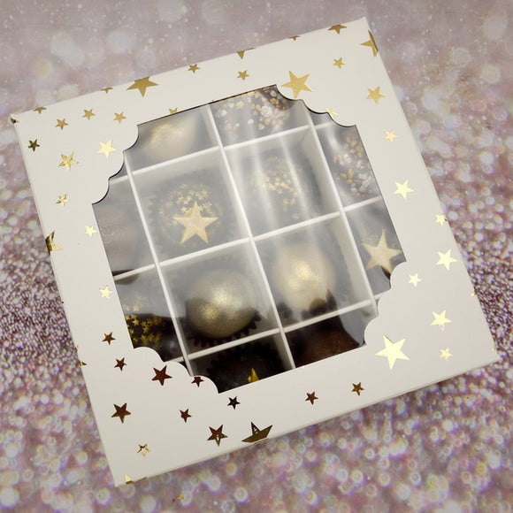 White Window Truffle Box with Gold Star (Kit with 10 Boxes)