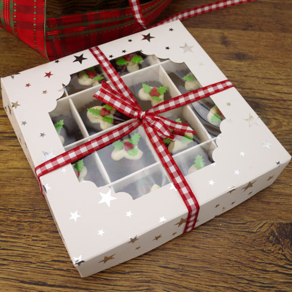 White Window Truffle Box with Silver Star (Kit with 10 Boxes)