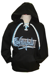 Black Volleyball Lace Up Hoodie