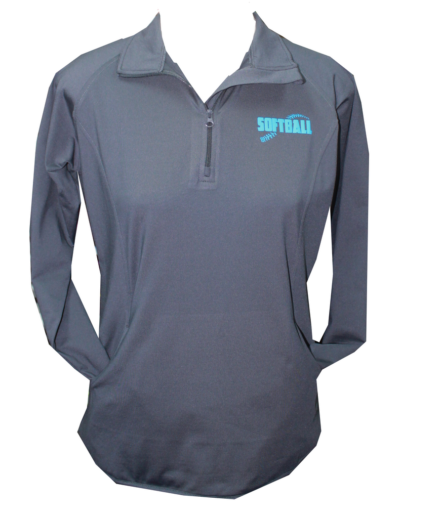 Charcoal Fleece Lined Performance Softball 1/4 Zip