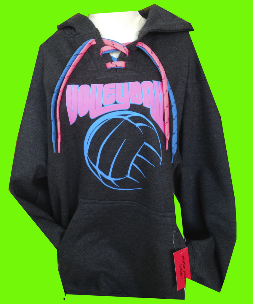 Charcoal NEON Volleyball Lace Up Hoodie