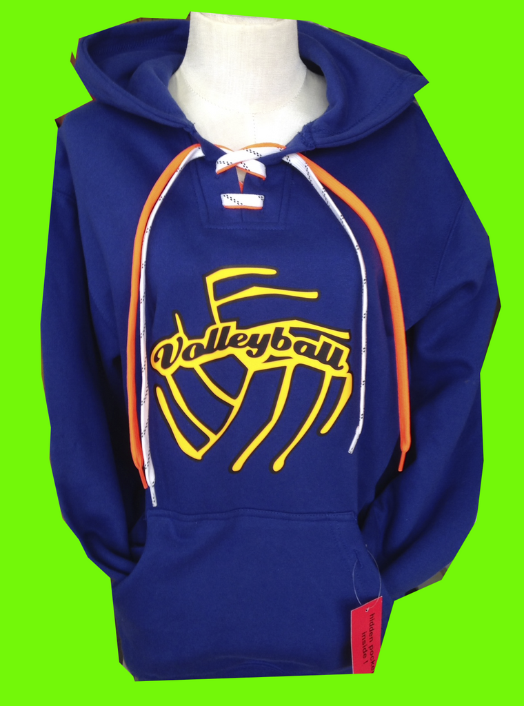 Royal NEON Volleyball Lace Up Hoodie
