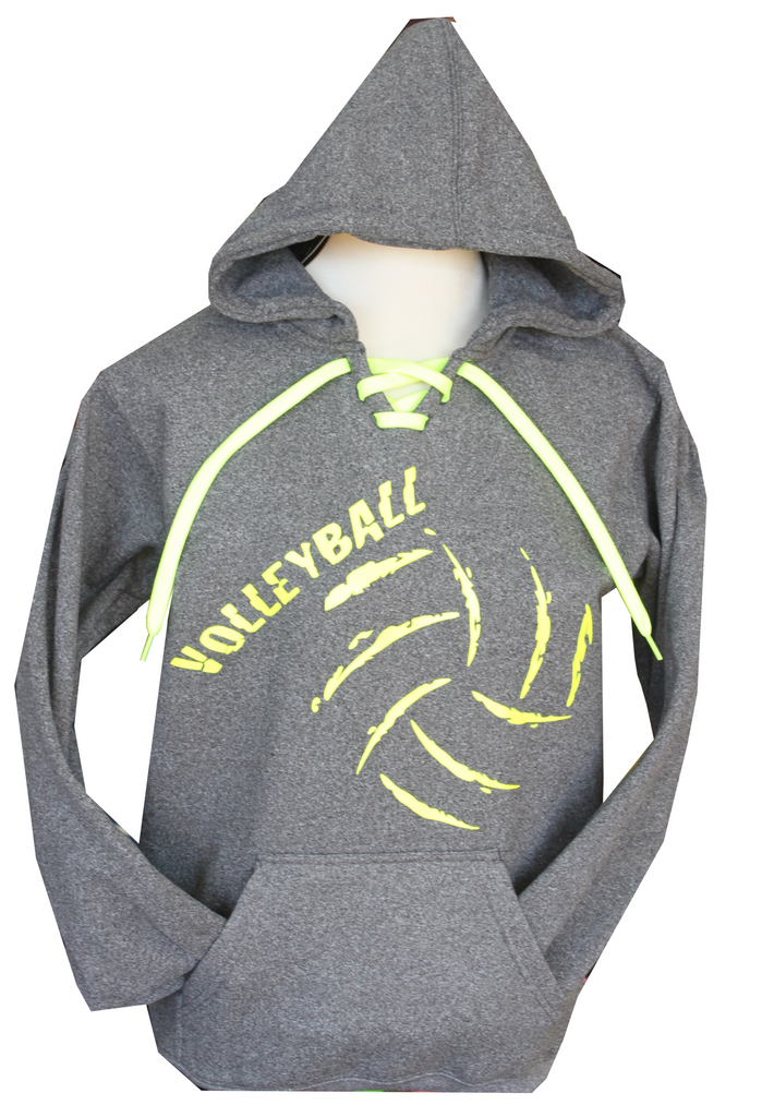 Dark Heather Volleyball Laced Hoodie