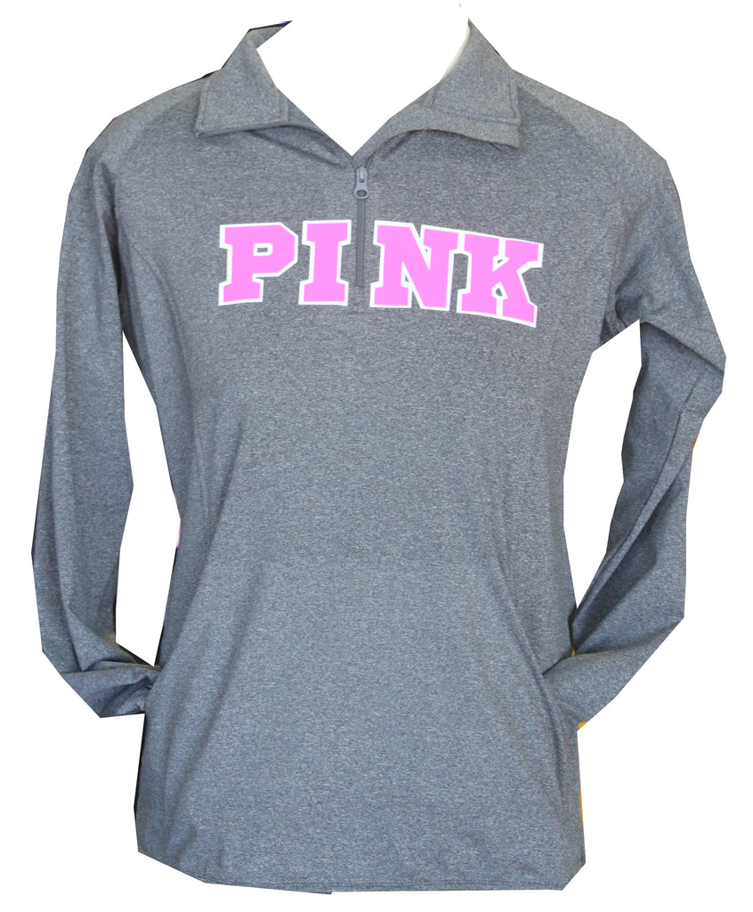Pink Ribbon Fleece Lined 1/4 Zip Sweatshirt