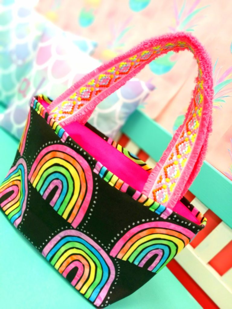 Tote Bag S-size, Black Rainbow
