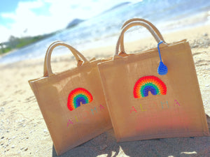 Tote Bag Jute Rainbow