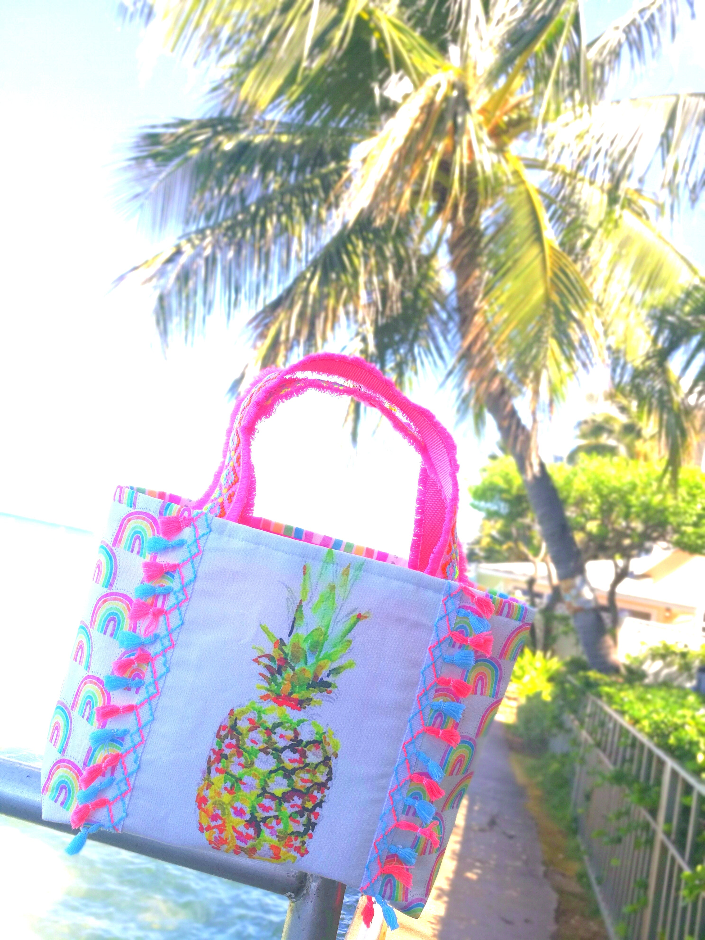 Tote Bag L-size, Pineapple Rainbow
