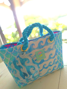 Tote Bag & Mask Set, Blue Waves