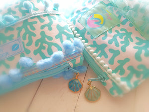Coral Blue Pouch & Mask Set