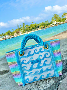 Tote Bag S-size, Blue Waves