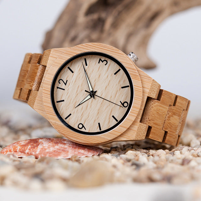 Natural Bamboo Wooden Quartz Watch