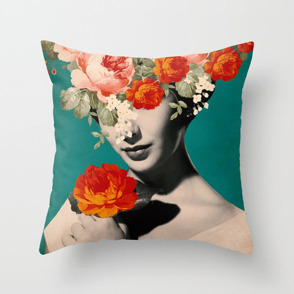 Flower Lady Cushion - Blossom Blue