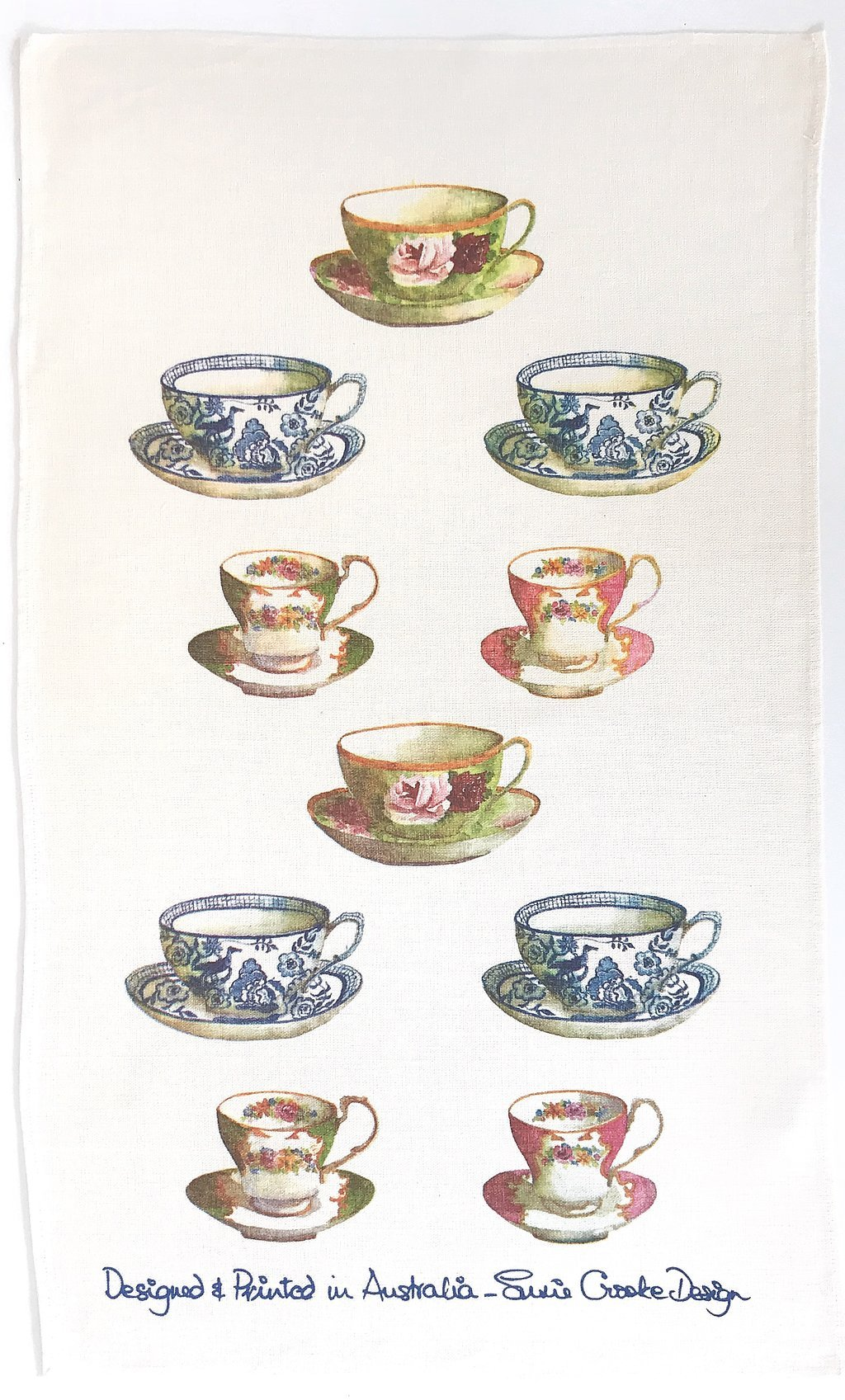 Susie Crooke Teacups Tea Towel