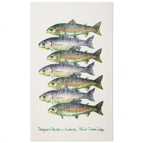 Susie Crooke Trout Tea Towel