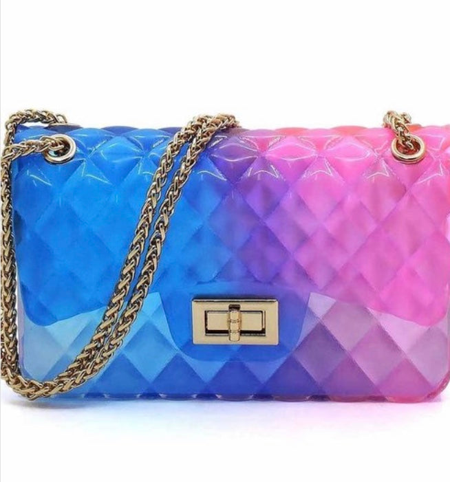 Multi Color Jelly Crossbody Shoulder Bags Swirl Candy Purses Cocktail Bag