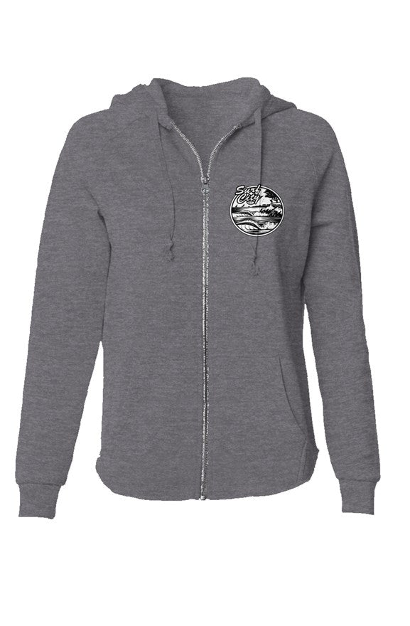 The Real Surf City Womens Lightweight Wash Zip Hoodie - Santa Cruz Surf Shop™