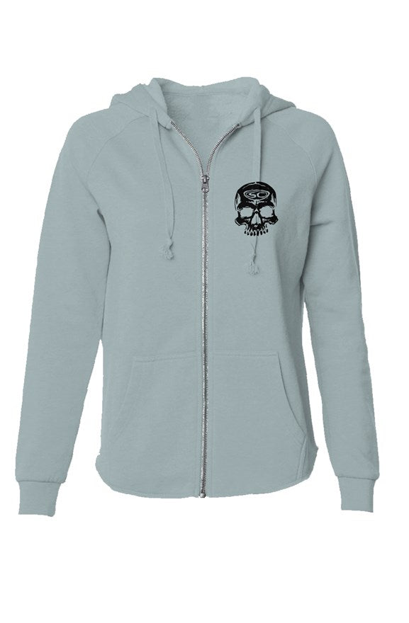 SC Skull Womens Lightweight Wash Zip Hoodie - Santa Cruz Surf Shop™