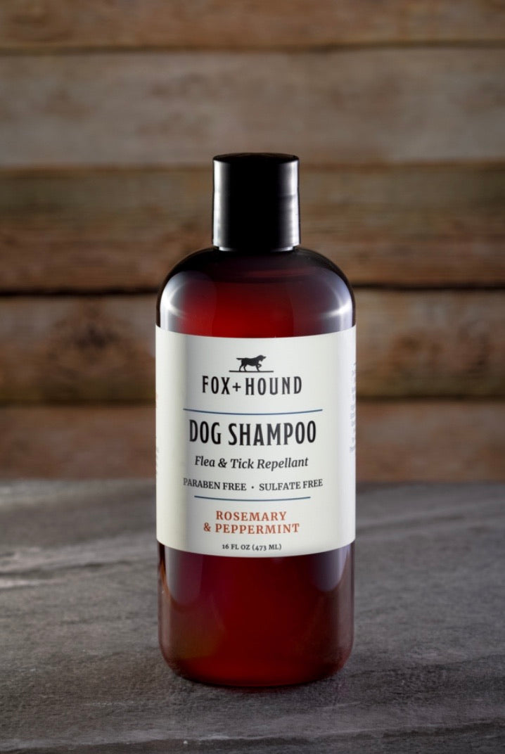 ROSEMARY PEPPERMINT DOG SHAMPOO + CONDITIONER REPELS FLEAS & TICKS