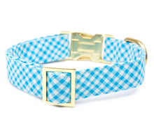 Load image into Gallery viewer, Sky Blue Gingham Dog Collar